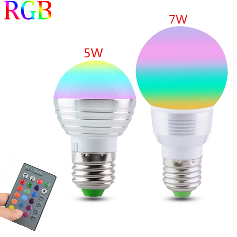 newest 5d564 8a826 US $2.99 30% OFF|1PCS E27 RGB LED Lamp 5W 7W 85 265V LED RGB Bulb Light  110V 120V 220V Led Soptlight Remote Control 16 Color Change Lampada LED-in  LED ...