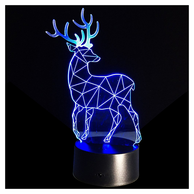 3d optical illusion lamp 7 colors change touch button christmas reindeer led night light black