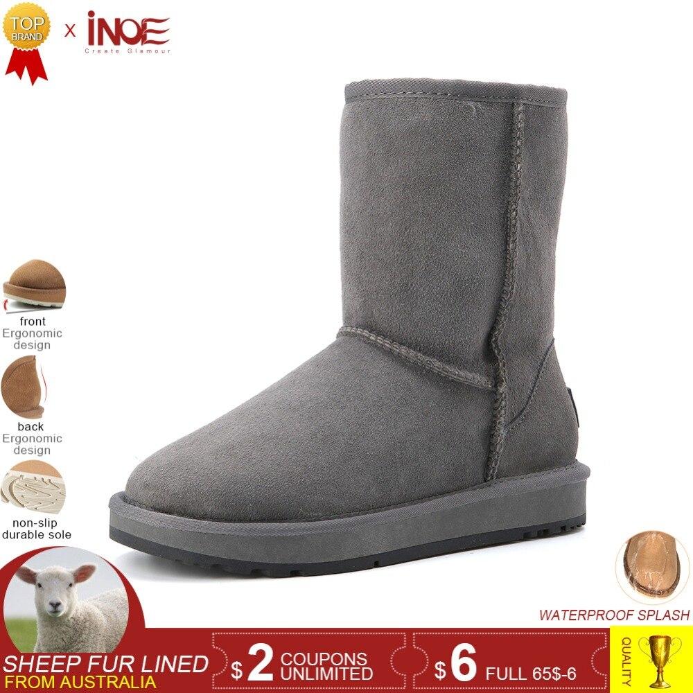 INOE reale della pelle di pecora in pelle uomo in pelle scamosciata di inverno stivali da neve per gli uomini di lana foderato di pelliccia di inverno scarpe di alta qualità marrone nero grigio 33-44