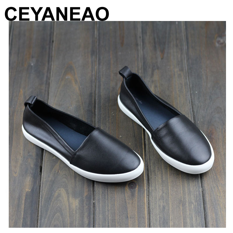 CEYANEAO Shoes Woman Flats Genuine Leather Round toe Slip on Loafers Ladies Flat Shoes Skid proof Spring/Autumn Female Footwear kuidfar women shoes woman flats genuine leather round toe slip on loafers ladies flat shoes skid proof spring autumn footwear