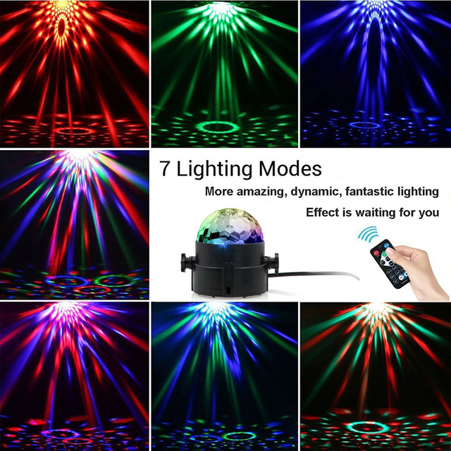 Sound Actived 7 Color LED Disco Magic Ball Projection Lamp 3w Strobe Rotating Led Stage light for Club Party Wedding Holiday