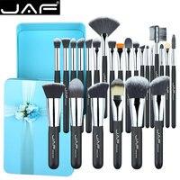 JAF 24 PCS SET Makeup Brushes Synthetic Taklon Premium Green Metal Box Wrapping Gift Brush Set