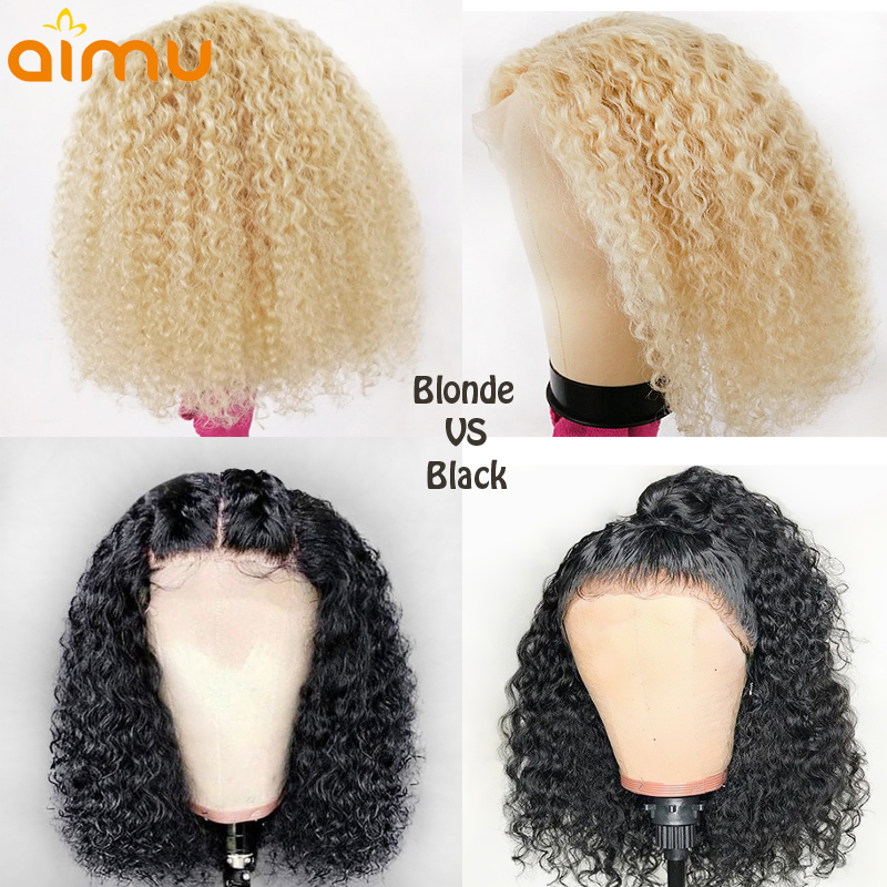 613 Blonde Natural Colored Short Blunt Cut Bob Curly Lace Front 100 Real Natural Human Hair
