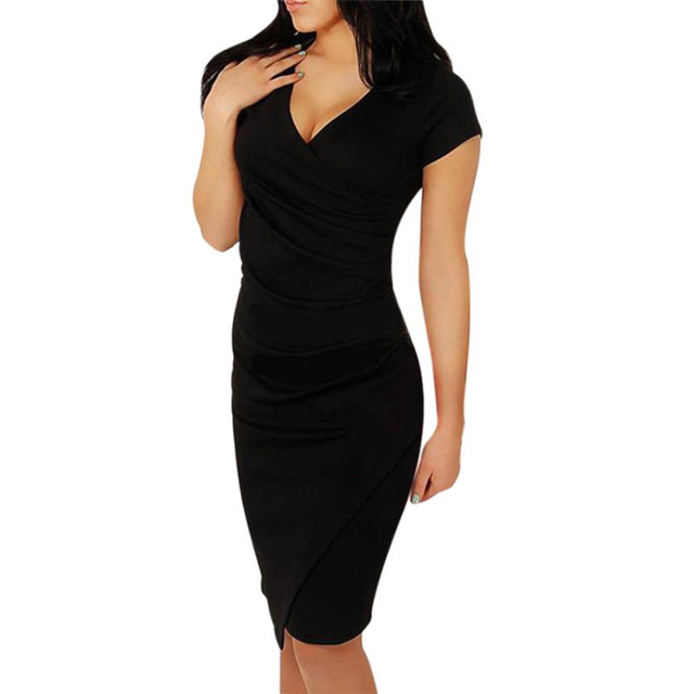 82bec6834fff Women Casual Wear To Work Office Sheath Fitted Pencil Dress Summer Elegant  Classy Deep V Neck Bodycon level Dresses  TW