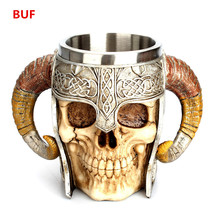 Big Size Skull Cup Creative Skull Coffee Cup Cool Skull Figurines Sculpture Home Decoration Accessories Party Supply cool shining discoloring skull cup transparent 400ml 2 x cr2025