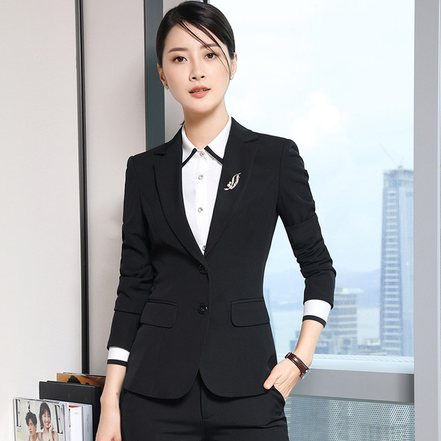 Women Blazer Suits Business Office Lady Formal Clothes Solid Color