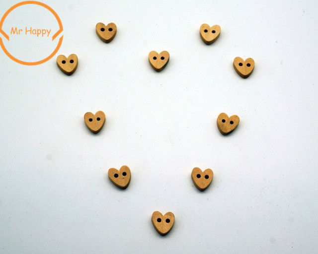 2017 New Arrival 50Pcs Kawaii Heart Wood <font><b>Button</b></font> Sewing Accessories Decoration <font><b>Buttons</b></font> Scrapbooking Handmade Craft DIY <font><b>10mm</b></font> image