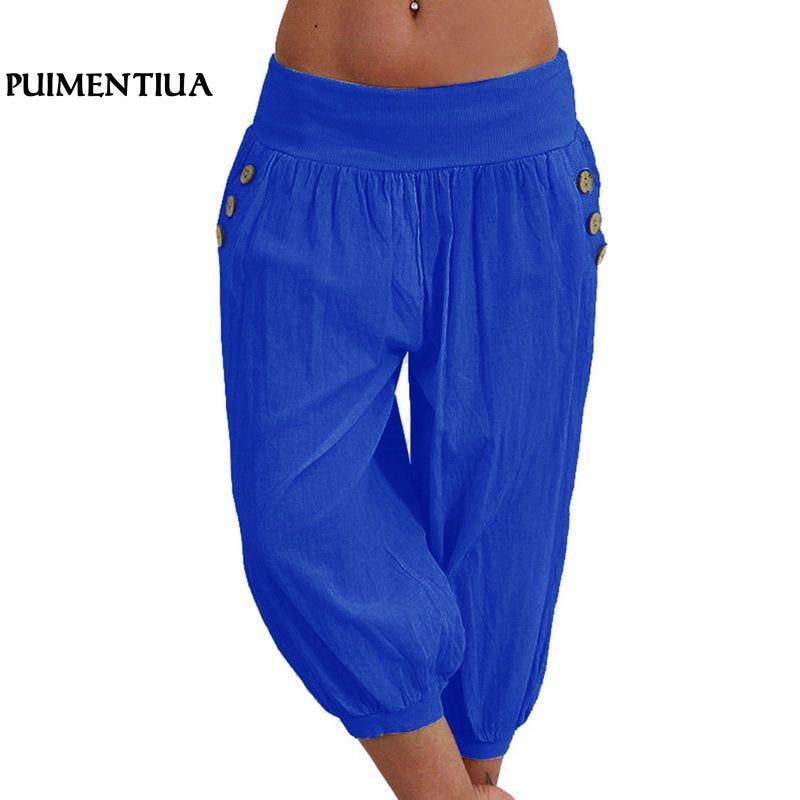 Puimentiua Women Summer 5XL Plus Size Loose   Pants   Casual Solid Elastic Waist Harem   Pants     Capris   Female Retro Baggy Pantalones