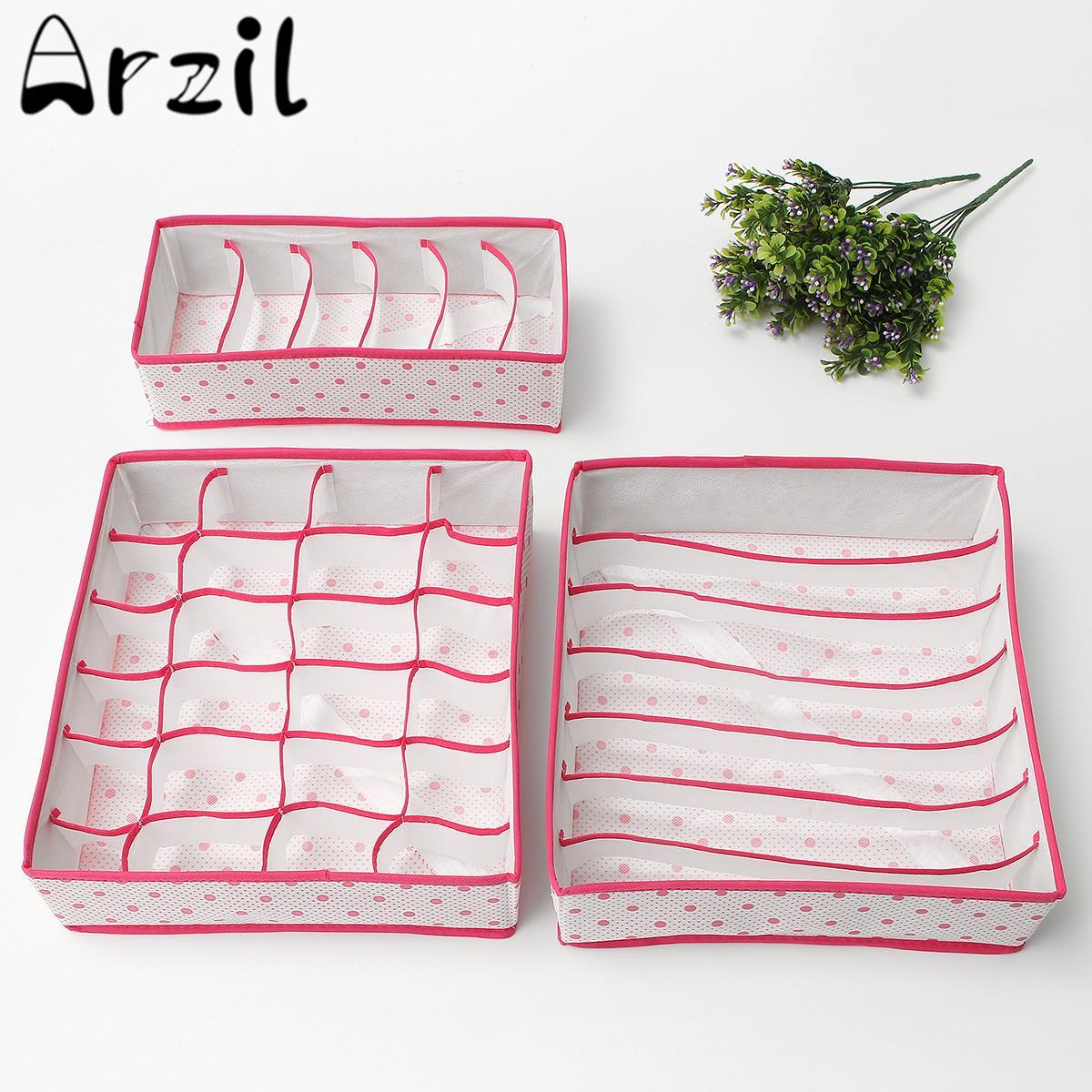 3pcs Set Foldable Clothing Storage Boxes Bra Underwear