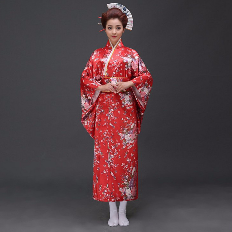 Free Shipping Red Vintage Japanese Women's Polyester Satin Kimono Yukata Mujeres Quimono Evening Dress Flower One Size