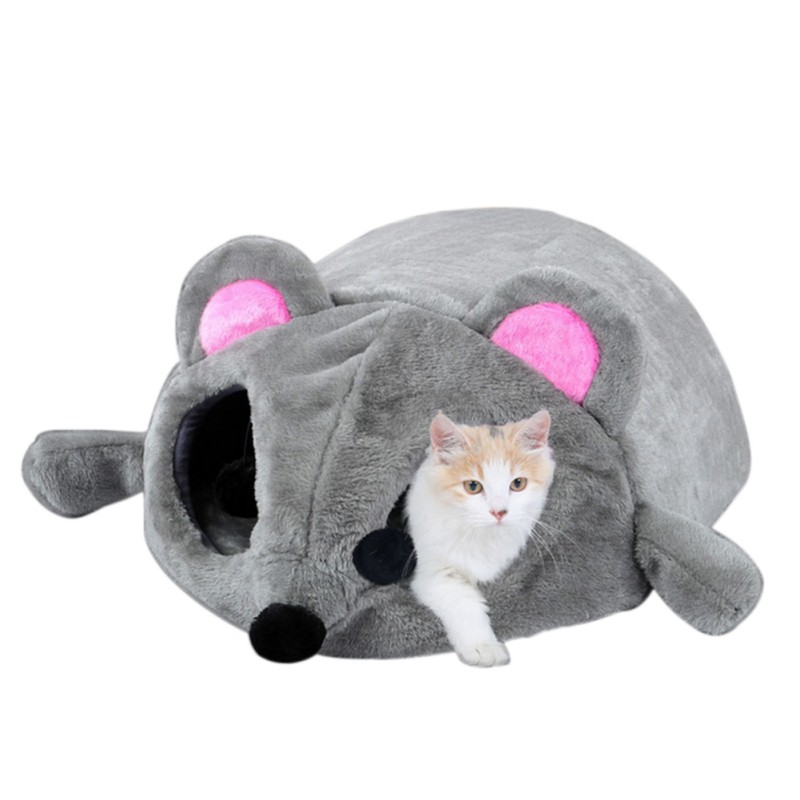 New Gray Mouse Form Bed Small Cats Dogs Cave Bed Removable Kisses Waterproof Bottom Cat House Spongy Filling Comfortable Nest