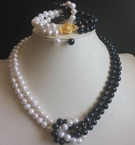New Arriver Pearl Jewelry Set 2Rows 17 18inch 7 8mm White Black Color Freshwater Pearl Necklace