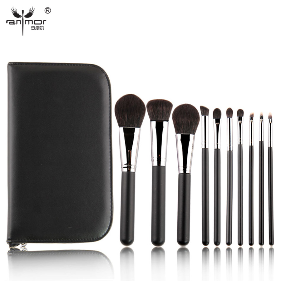New 10 Pieces Makeup Brush Set Soft Synthetic Hair Makeup Brushes Professional Make Up Brushes in PU Black Cosmetic Bag BL006 makeup brush set 9pcs soft synthetic hair multifunction professional cosmetic make up brushes maquiagem brush tools for beauty