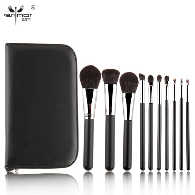 New 10 Pieces Makeup Brush Set Soft Synthetic Hair Makeup Brushes Professional Make Up Brushes in PU Black Cosmetic Bag BL006