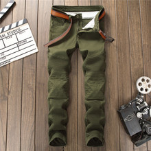 กางเกงยีนส์ผู้ชายยืดจีบสีเขียวล้างสบายๆ DENIM BIKER ตรง Slim กางเกง Retro แฟชั่น