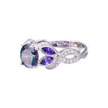 Mystical Rainbow Topaz 925 Sterling Silver Sapphire Engagement Rings