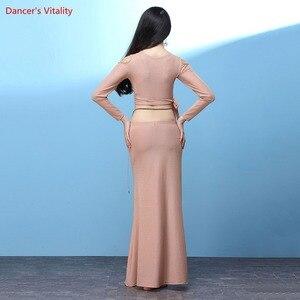 Image 3 - חדש נשים בטן ריקוד ללבוש ארוך שרוולים למעלה + ארוך חצאית סט תלבושות סט עבור בנות ריקוד תחרות סט