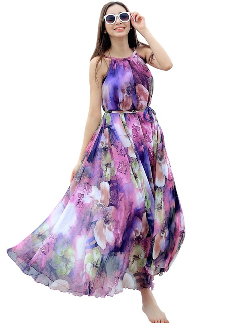 Summer Floral Long Chiffon Maxi Dress Gown Plus Sizes Celebrity