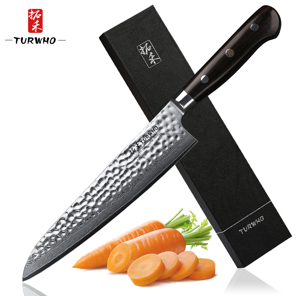 TURWHO 8.2 inch Damascus Chef Knife Quality Gyuto Knife 67 Layer Japanese Damascus Stainless Steel Kitchen Knives Ebony Handle-in Kitchen Knives from Home & Garden    1