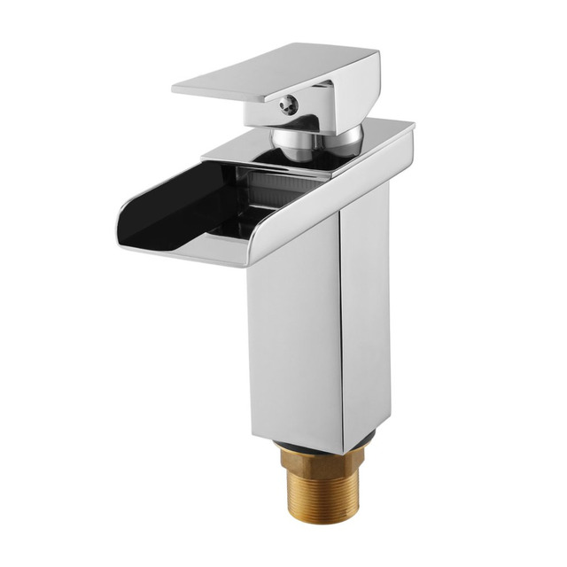 Modern Waterfall Design Tap Sink Faucet Square Chrome plating ...