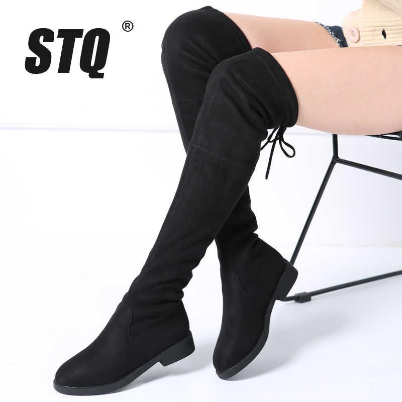 STQ 2019 Kış kadın botları kadın faux süet peluş sıcak çizmeler diz üzerinde çizmeler lace up düz topuk diz yüksek kar botları 6523