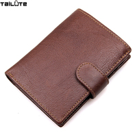 TAILUTE Brand Leather Wallet For Gift Business Genuine Leather Trifold Wallets Card Holder Short Design Solid