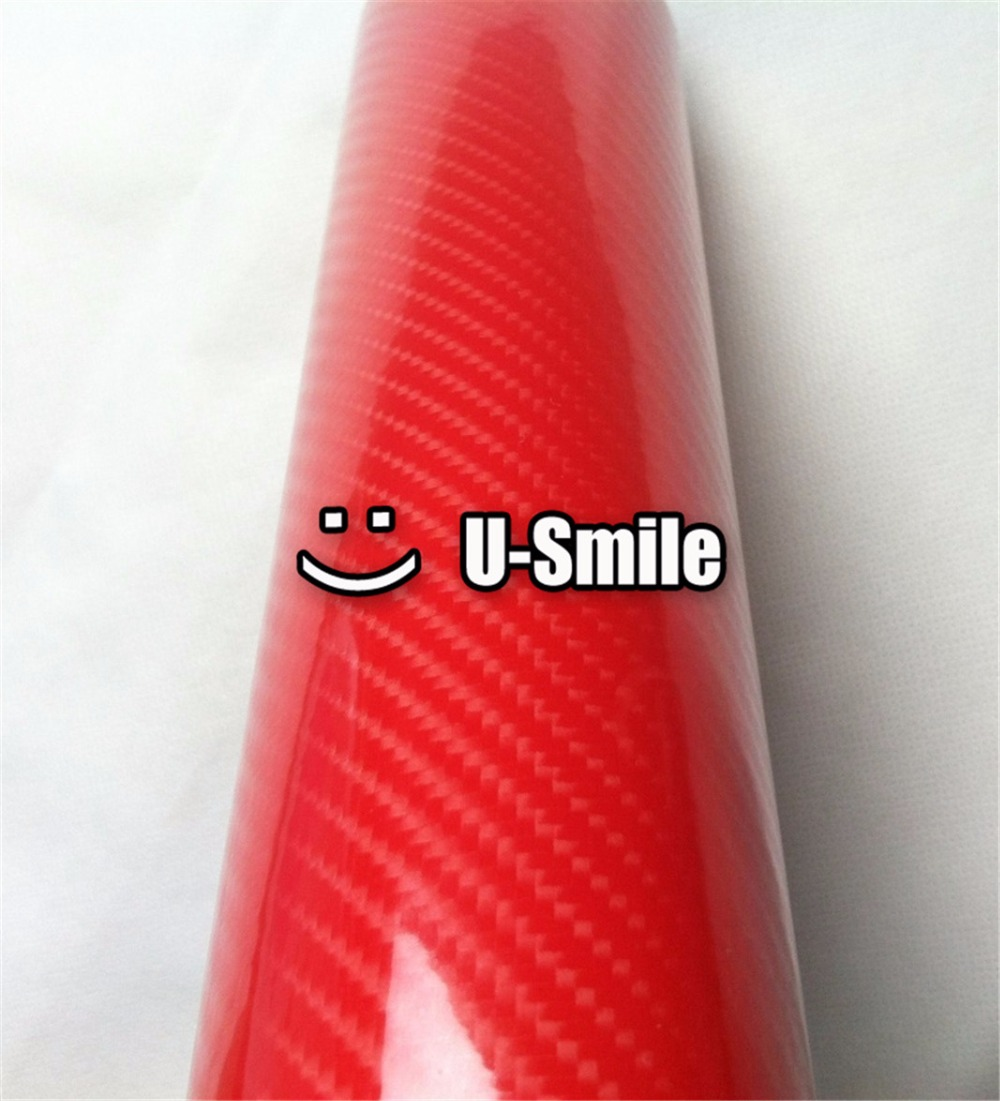 Premium Glossy Fire Red 5D Carbon Fiber Roll Red 5D Carbon Fibre Wrap Sheet Car Wrapping Bubble Free Size:1.52X20M/Roll