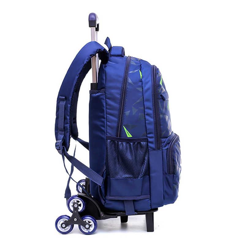 Школьный ранец на колесиках для детей 4-9 лет, рюкзак для мальчиков и девочек, водонепроницаемые съемные детские школьные сумки с 2/6 колесами, лестницы