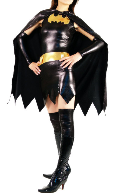 Shiny Metallic Super Hero Adult Womens Zentai Batgirl Costume with Cape for Halloween and Cosplay Free  sc 1 st  AliExpress.com & Shiny Metallic Super Hero Adult Womens Zentai Batgirl Costume with ...