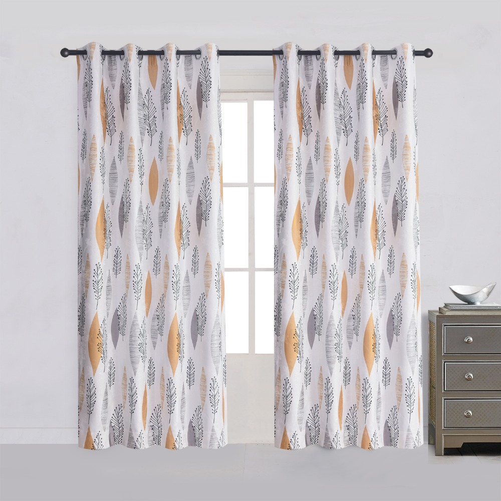 Yellow Leaf Blossom Room Darkening Blackout Lined Curtains Panel Drapes Living Grommet Top Draperies 52Wx96L