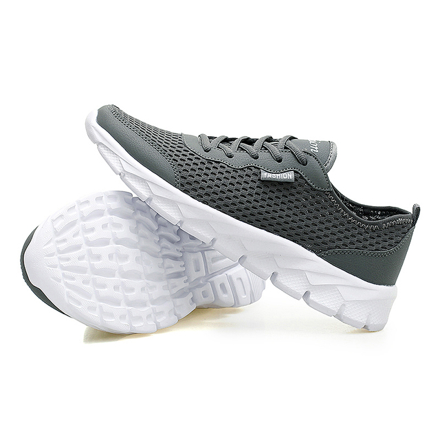 Breathable Men Shoes Lace Up Gray Black Flat Mesh Shoes