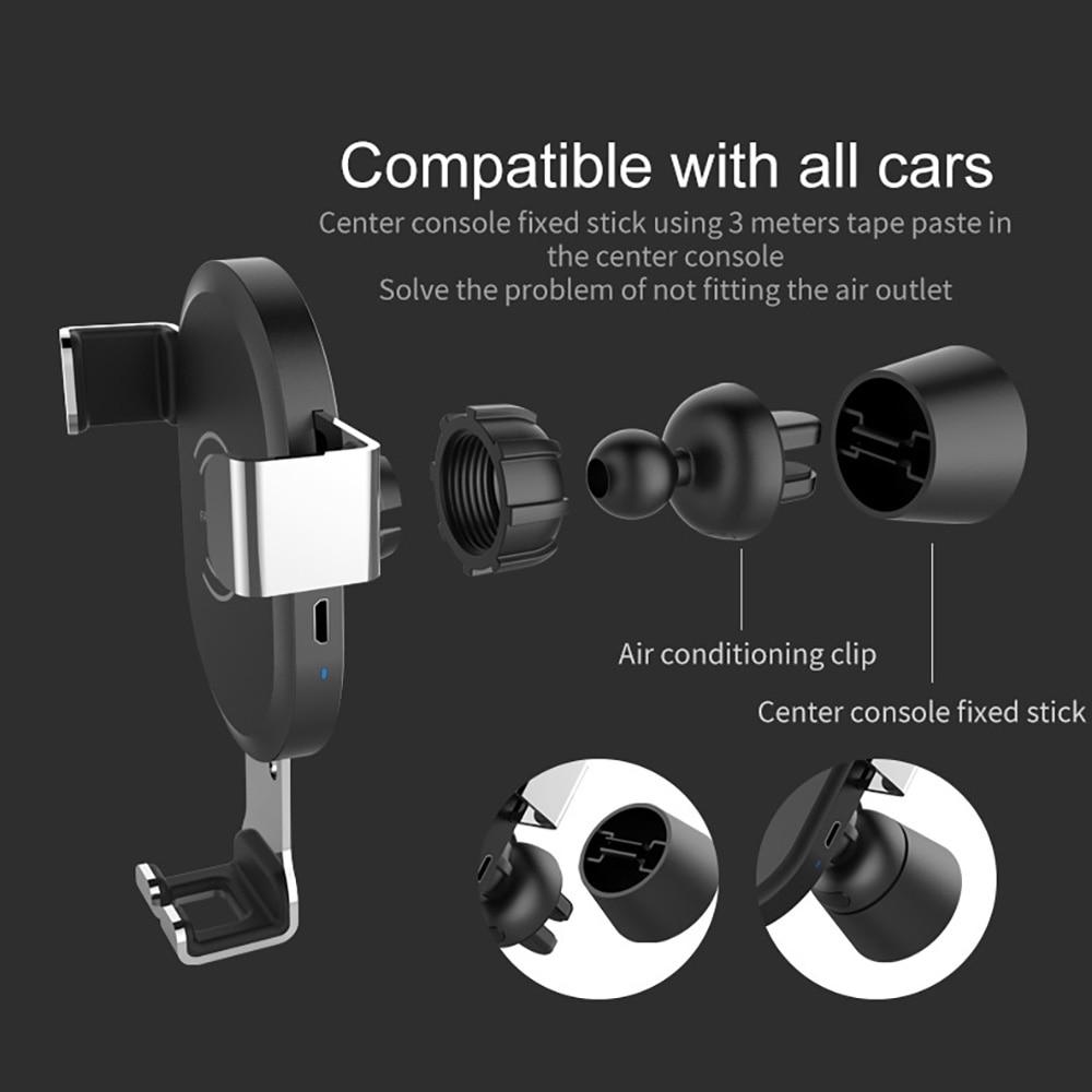 DCAE 10W Fast QI Wireless Cargador de coche Soporte de gravedad para - Accesorios y repuestos para celulares - foto 3