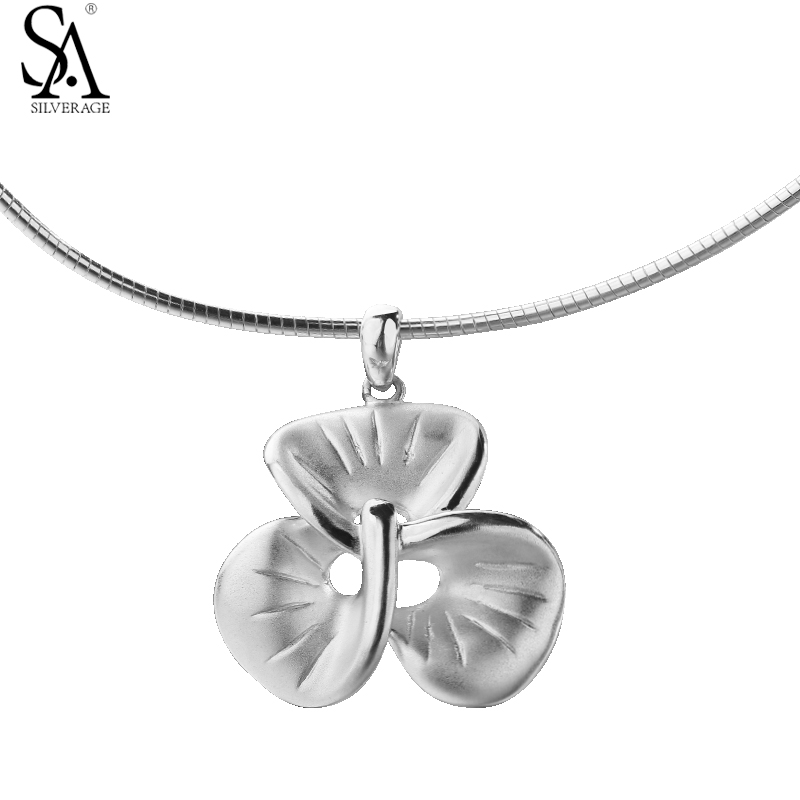 SA SILVERAGE 925 Silver Necklace Choker Neck Circle Flower Pendant Pure Silver Jewelry Necklace For Women Party Gift Accessories elegant 925 pure silver necklace for women silver