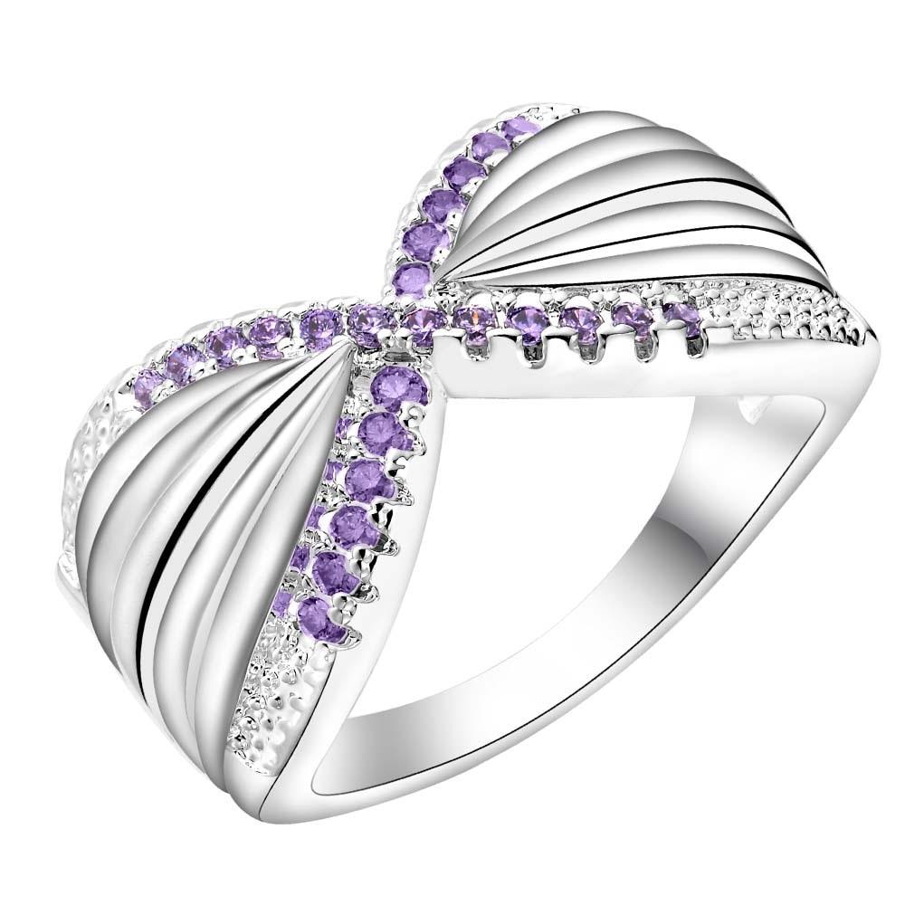 purple zircon beautiful Silver plated Ring Fashion Jewerly ...