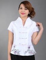 Embroidery Floral White Summer Ladies Blouse Chinese Style Silk Satin Shirt V-Neck Costume Tops Size S M L XL XXL XXXL WS033
