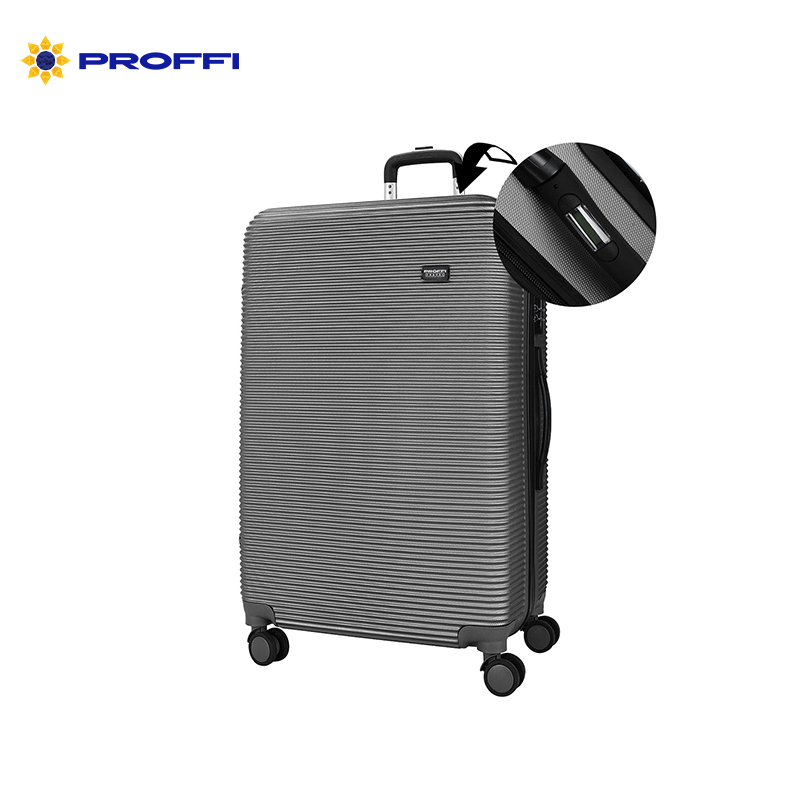 Grey suitcase PROFFI TRAVEl PH8863grey, L, large, plastic, with built-in weights, on wheels 74x48x24sm