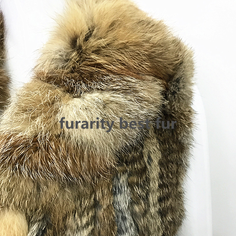 natural Tricoté Abrigos Genuina Renard Grey Réel Avec De Brown Sf0178 2017 Col Piel Gilet Natural Mode Fourrure Lapin aBnAFx8S