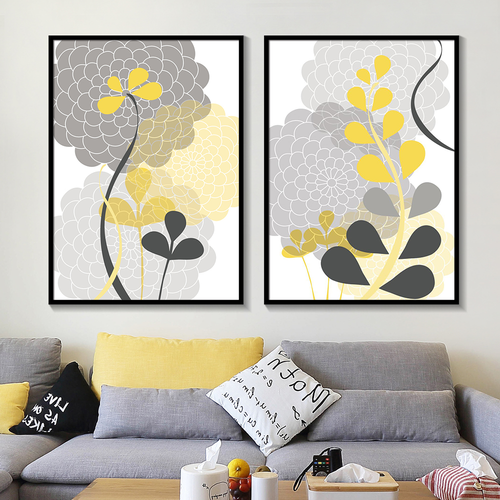 Abstract Flower Prints Modern Mums Botanical Charcoal Grey Yellow