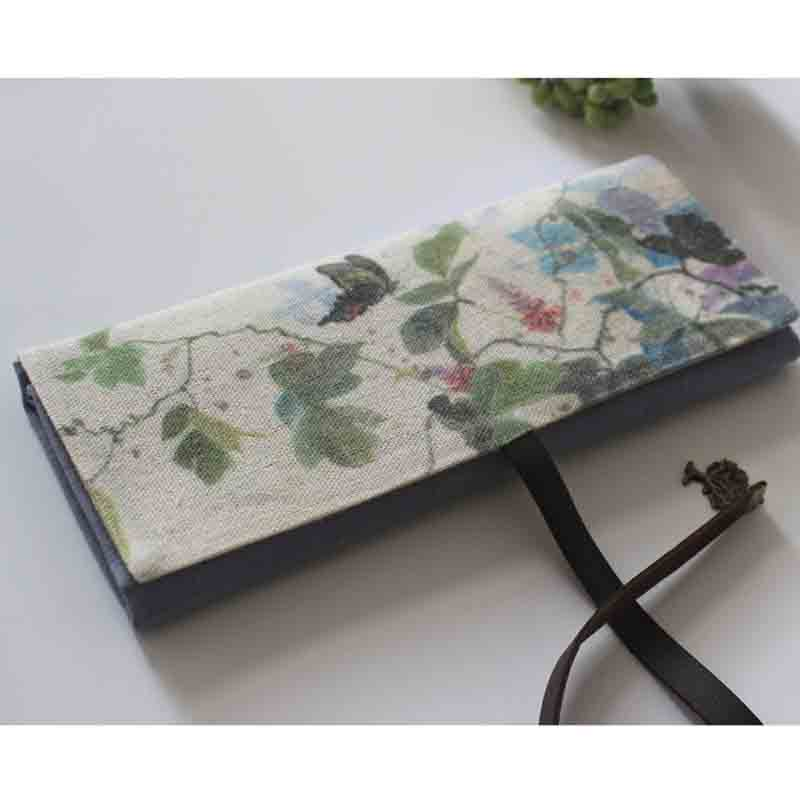 Cotton Canvas Black Eyelet Lined Curtain: Japanese Style Pen Curtain Watercolor Paintbrush Bag