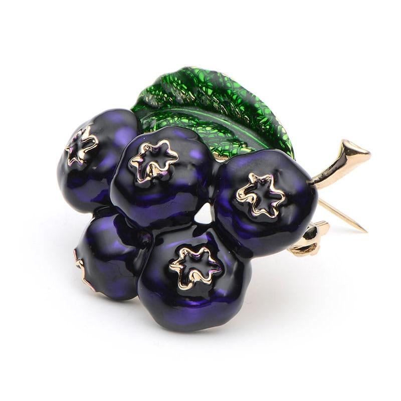 Lilla Emalje Blåbær Brocher Kvinder Mændslegering Plant Broche - Mode smykker - Foto 4