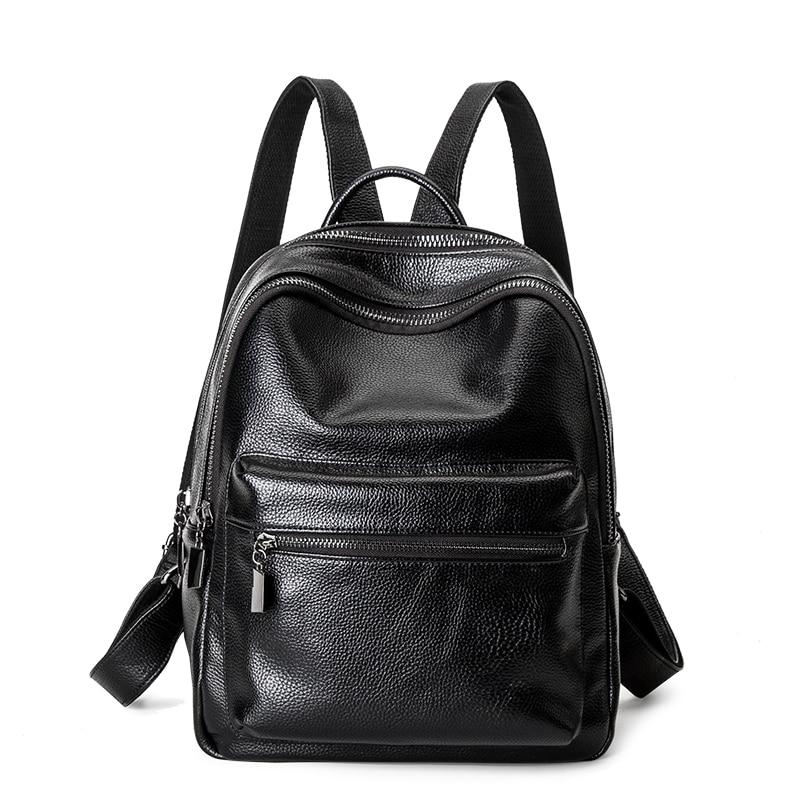 Black Backpack Women Genuine Leather Backpack School Bags Lady Fashion Travel Shoulder Bag Designer Backpacks for