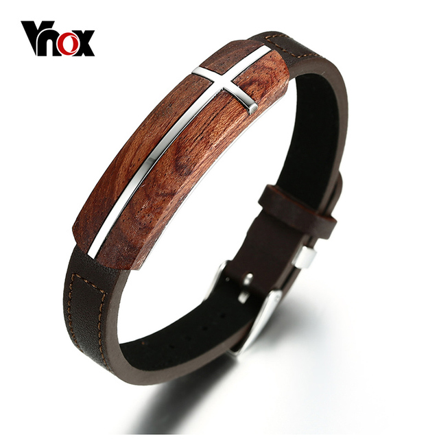 Vnox Retro Rosewood Genuine Leather Bracelet For Men Real Wood Wooden Top Quality Business Style