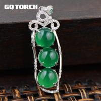 Green Chalcedony Pea Pendants For Women 925 Sterling Silver Natural Gemstone Beads Fine Jewelry