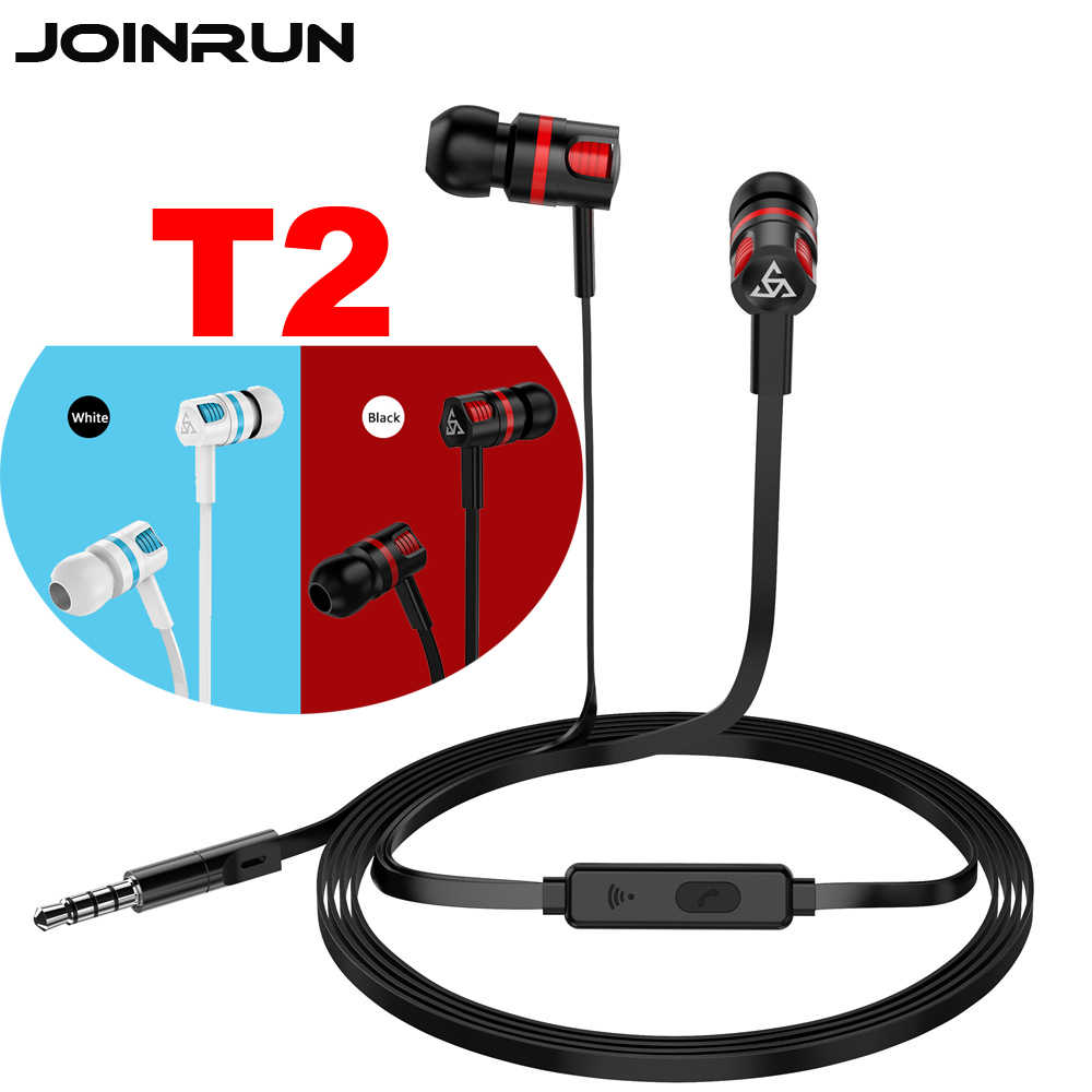 Joinrun T2 Earphone Headset Gamer Driver Dinamis Unit In-Ear Bass Stereo Olahraga Earphone Headset dengan MIC untuk Ponsel Komputer