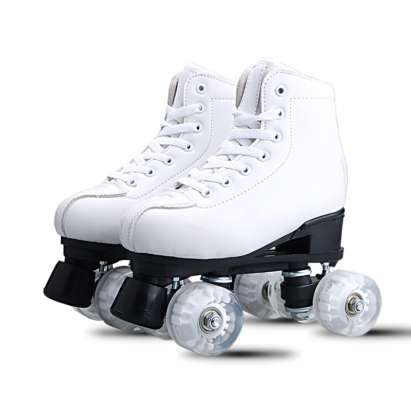 Adult Double-row Skates White Black Roller Skates Adult Male And Female Double-row Roller Skates Outdoor Sports Shoes