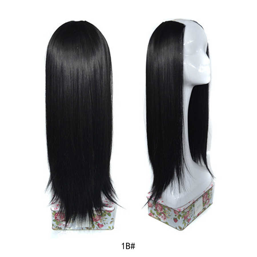 Long Straight U Shaped Half Wig for Women Party Heat Resistant Synthetic U  Shape Hair Wigs for Daily Use