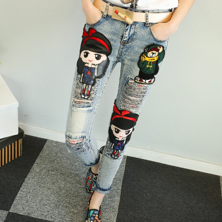 QA1208 Fashion cartoon pattern slim ladies denim pants brand quality embroidery ripped   jeans   for women