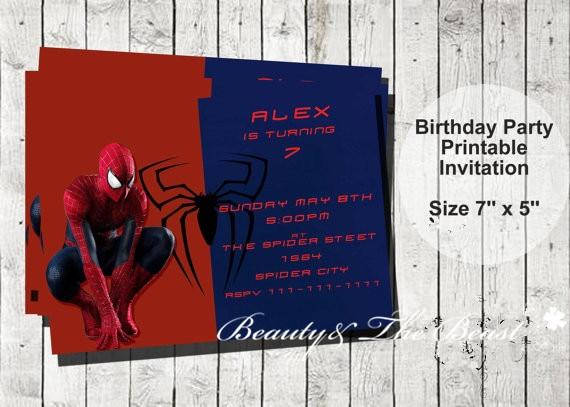 Personalized Spiderman Party Invitations, Spiderman Invites Birthday