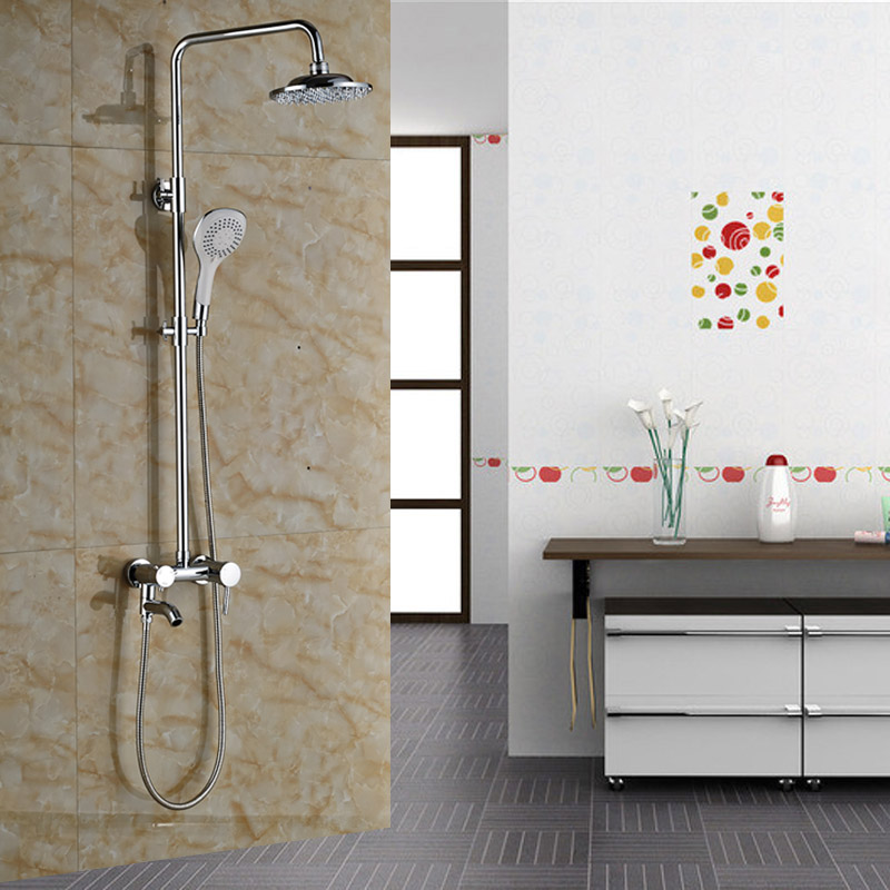 New Promotion Bathroom Wall Mounted Shower Faucet Adjustable Height