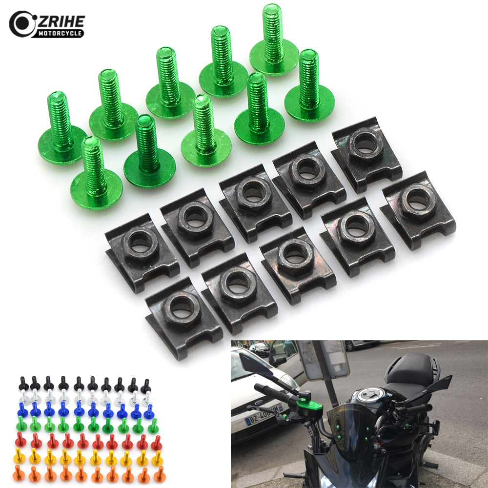 10 pcs Motorcycle Accessories Fairing body work Bolts Screws 6MM Universal for Kawasaki ER-6F ER-6N NINJA 400R 650R Z125 Z800
